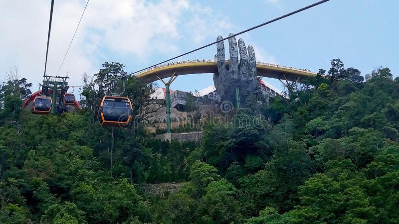 Take a look at the golden bridge from the cable car royalty free stock images
