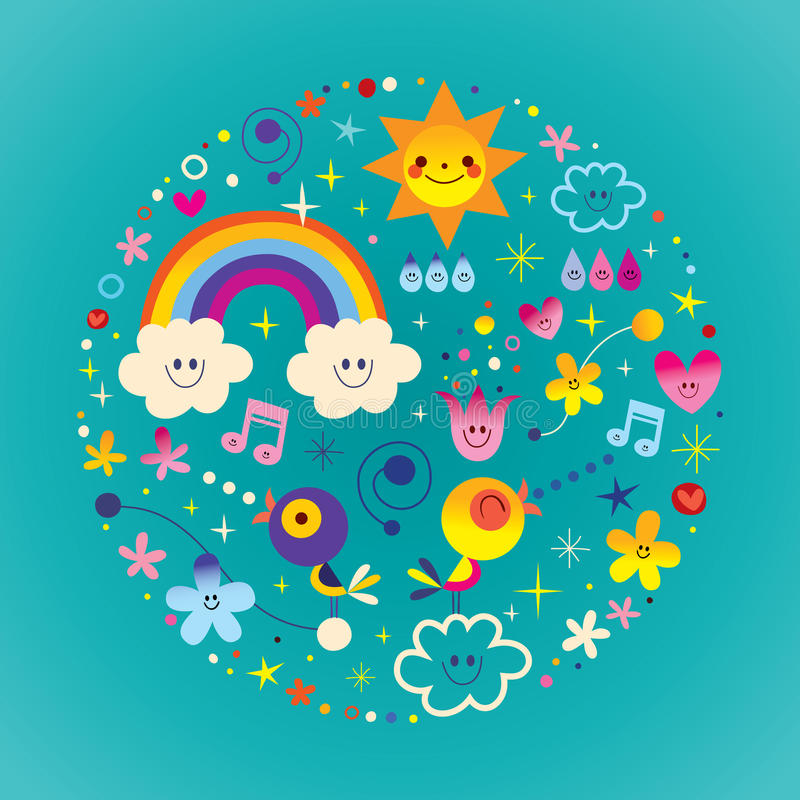 Extremely impressive round composition illustration with cute birds, flowers, Sun, rainbow, clouds, raindrops royalty free illustration