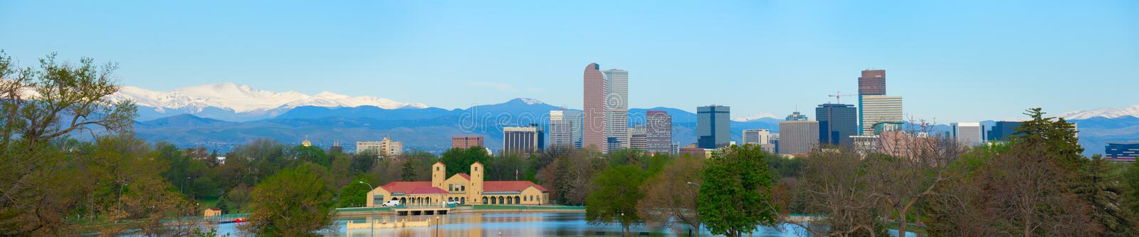 Extremely large format panorama of downtown Denver skyline and Rocky Mountains. Extremely large format 55 inches wide panorama of downtown Denver skyline royalty free stock images