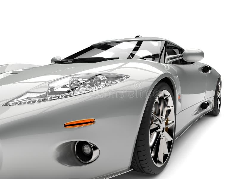 Extremer Nahaufnahmeschuß des modernen silbernen Superscheinwerfers des sports Motor- vektor abbildung