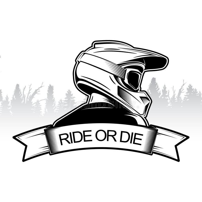 Extremer Sportlogoentwurf Motocross-abschüssige Gebirgsradfahrenlogoschablone Seitenansicht des Mannes mit integralem Sturzhelm lizenzfreie abbildung