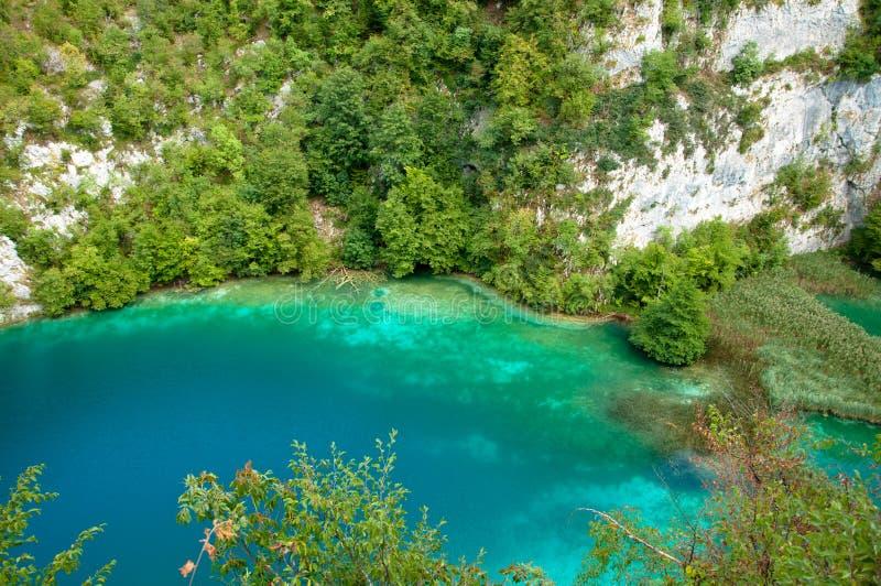 Extremes Blaues und cyan-blau auf Plitvice Seen lizenzfreies stockbild
