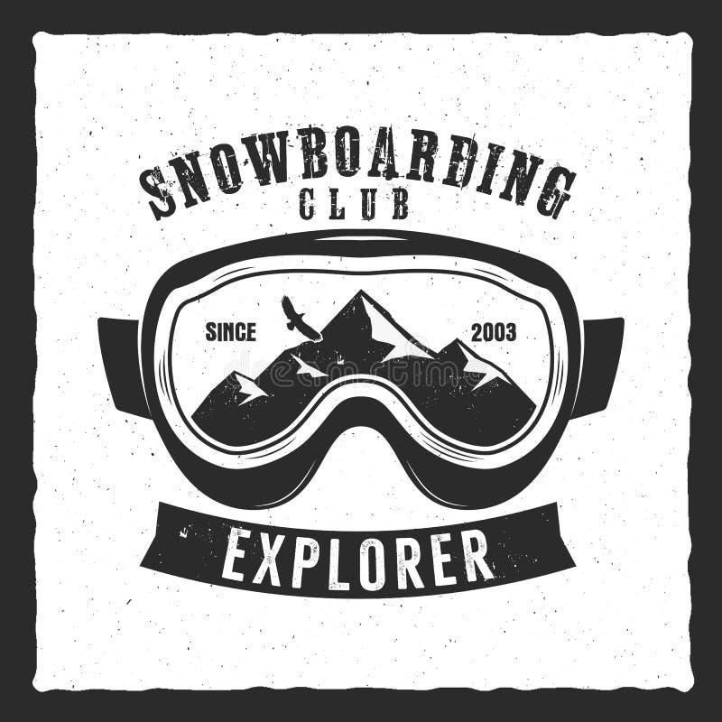 Extremes Logo der Snowboardingschutzbrillen und Aufkleberschablone Winter Snowboardklubabzeichen, Emblem Bergabenteuerinsignien stock abbildung