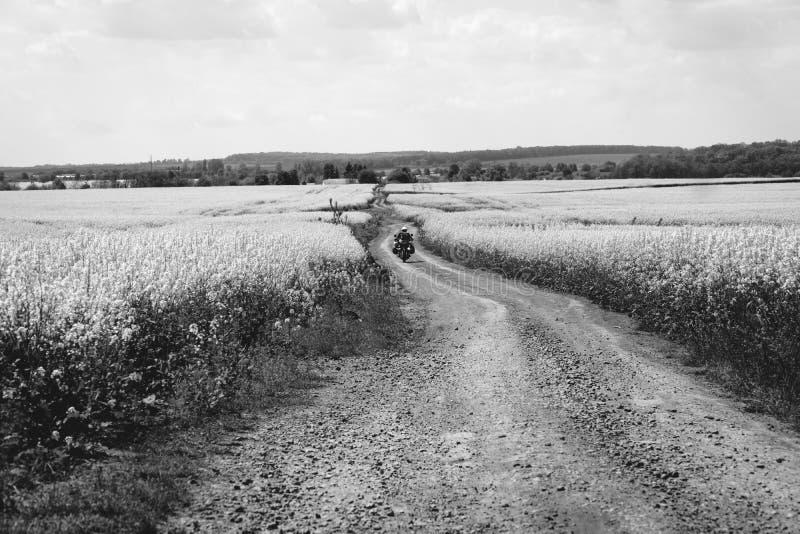 Extremes Sportreiten des Mannes, das enduro Motorrad auf Schmutz bereist sch?nes gelbes Feld von Blumen Weltabenteuerreiter Touri stockfotos