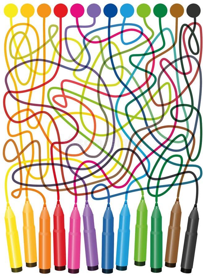 Extremidad Pen Color Maze del fieltro del laberinto stock de ilustración
