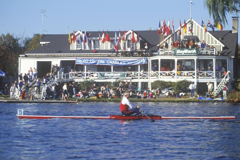 Extremidade da raça, Charles Regatta, Cambridge, Massachusetts foto de stock