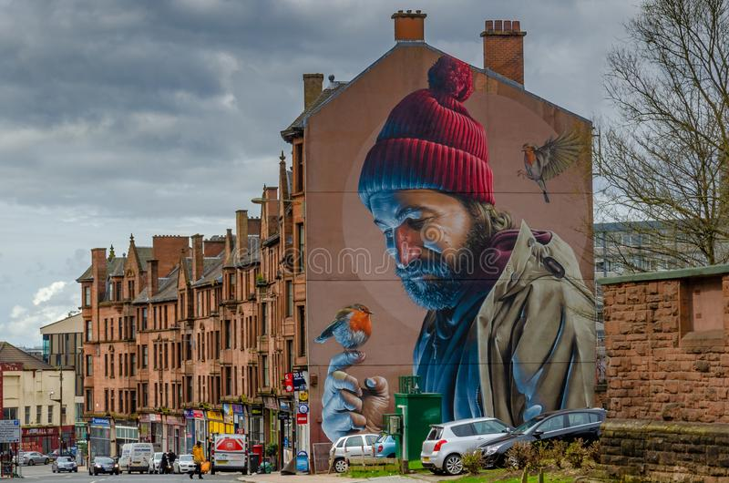 Extremidade de frontão de Glasgow na pintura mural da rua principal por Simon Bates fotos de stock royalty free