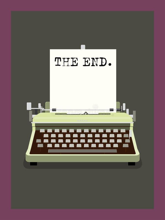 A extremidade - ilustração retro do vetor da máquina de escrever ilustração do vetor