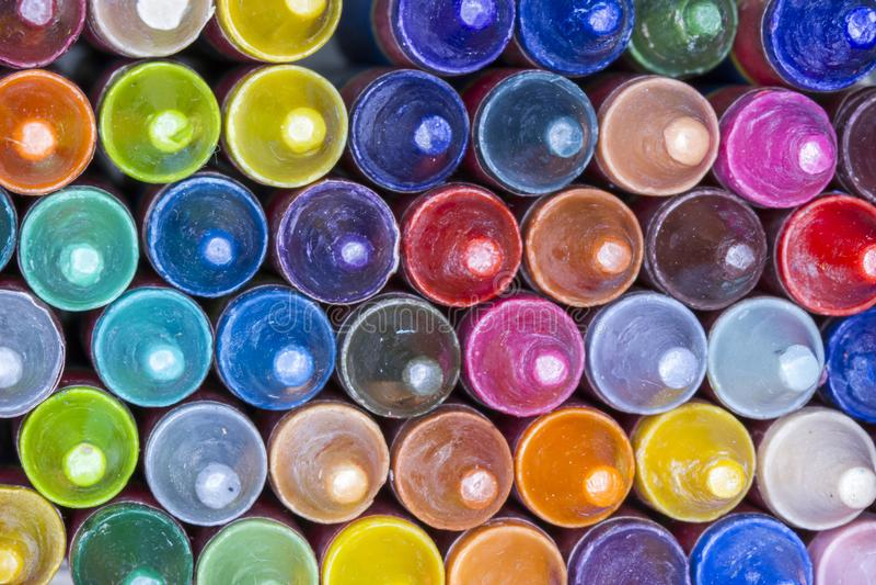Extremidades coloridas macras del creyón imágenes de archivo libres de regalías