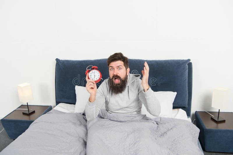 Extremidades para despertar temprano Cara soñolienta del inconformista barbudo del hombre que despierta Horario diario para la fo fotografía de archivo libre de regalías