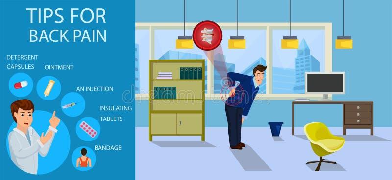 Extremidades para el dolor de espalda para el hombre de negocios Vector libre illustration