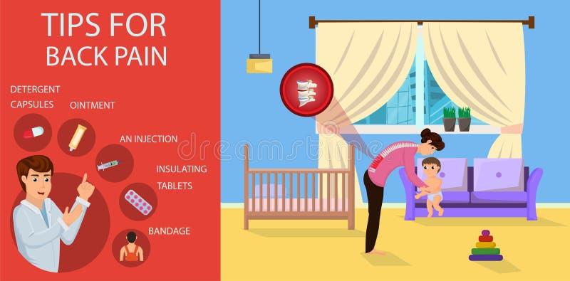 Extremidades para el dolor de espalda para la mamá Ilustración del vector ilustración del vector