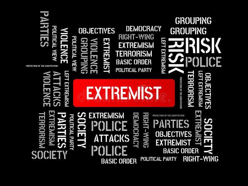 EXTREMISTA - CONSERVADOR - imagen con las palabras asociadas al EXTREMISMO del tema, palabra, imagen, ejemplo stock de ilustración