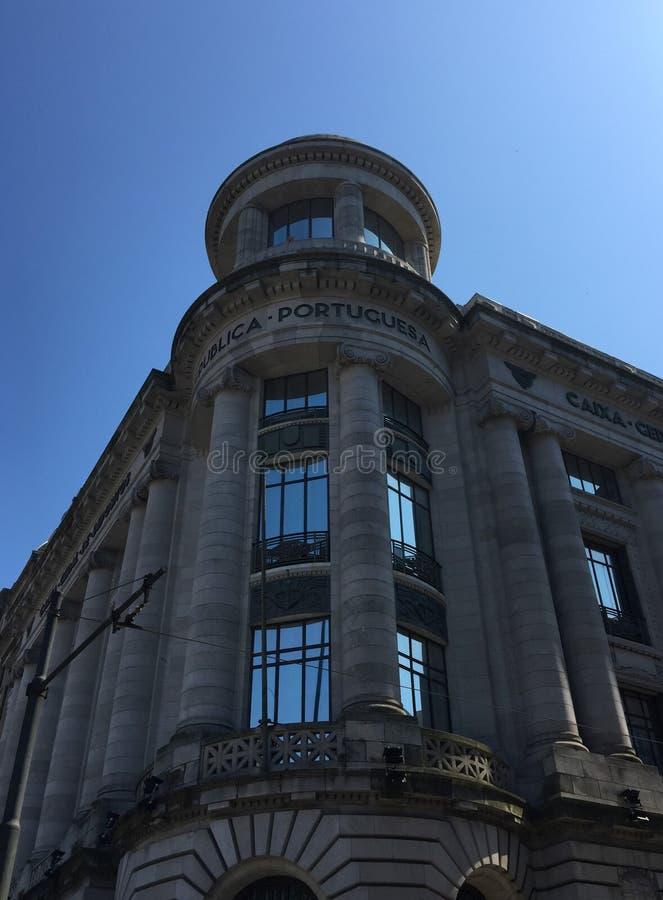 Extremo meridional de DOS majestuoso Aliados de Porto's Avenida, del cuadrado de Liberdade - ayuntamiento y Liberty Square Port imágenes de archivo libres de regalías