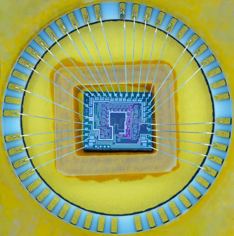 Extremo próximo acima da micro microplaqueta do silicone fotografia de stock