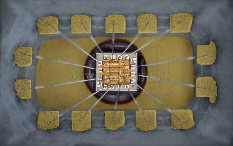 Extremo próximo acima da micro microplaqueta do silicone imagens de stock