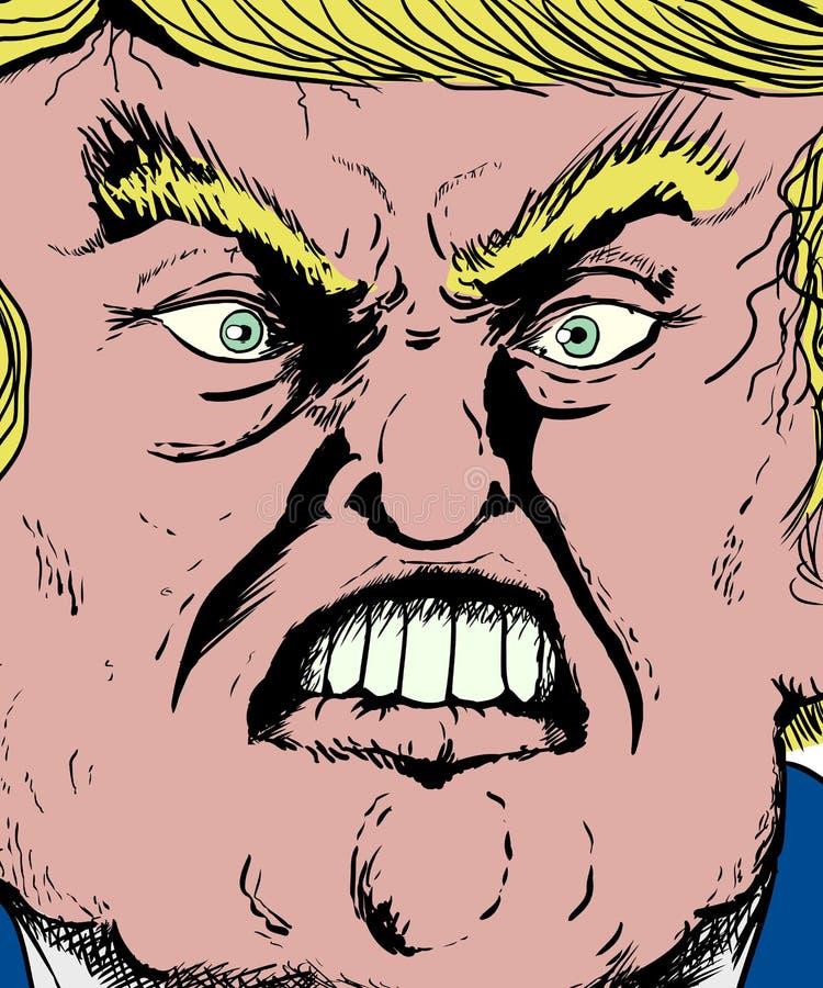 Extremo próximo acima em bordo cortante de Donald Trump ilustração stock