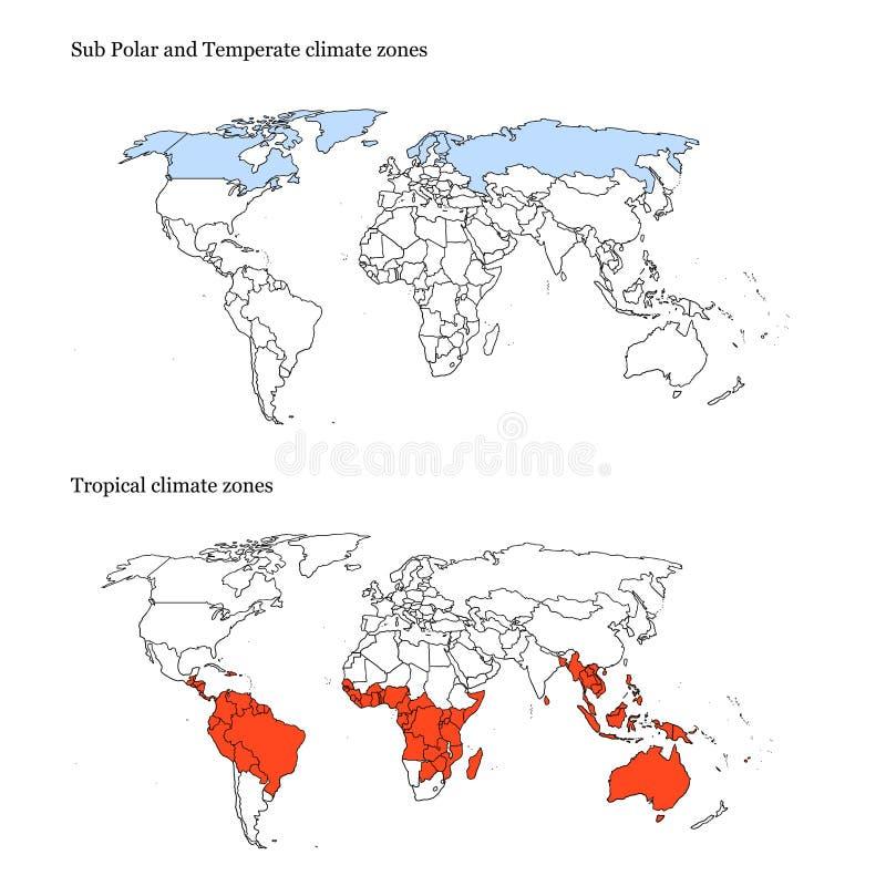 Extremos do mapa das zonas de clima do mundo ilustração stock