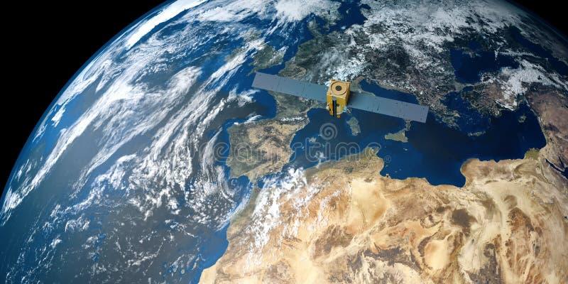 Extremt detaljerad och realistisk hög bild för upplösning 3D av en satellit- kretsa kring jord Skott från utrymme fotografering för bildbyråer