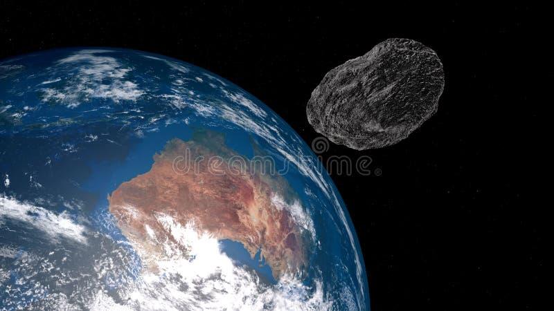 Extremt detaljerad och realistisk hög illustration för upplösning 3D av en asteroid som att närma sig Australien Skott från utrym royaltyfri illustrationer