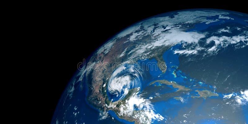 Extremt detaljerad och realistisk hög illustration för upplösning 3D av en orkan som att närma sig USA Skott från utrymme stock illustrationer