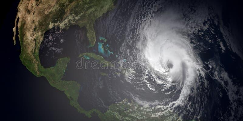 Extremt detaljerad och realistisk hög illustration för upplösning 3d av 3 orkaner som att närma sig de karibiska öarna och Florid royaltyfri illustrationer