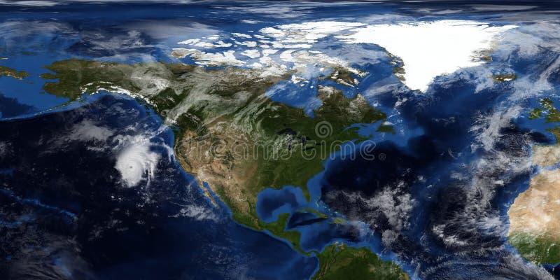 Extremt detaljerad och realistisk illustration 3D av en orkan som att närma sig Nordamerika Skott från utrymme Beståndsdelar av d arkivbild