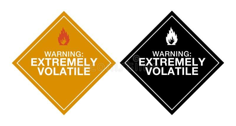 extremt flyktig varning vektor illustrationer