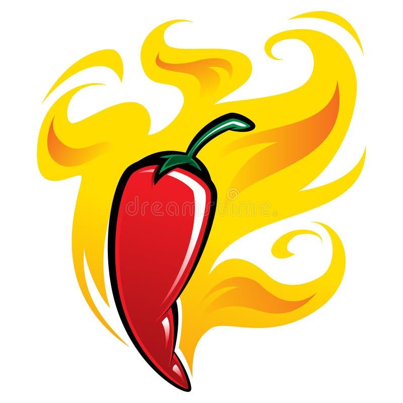 Extremt varm peppar för röd chili på brand vektor illustrationer