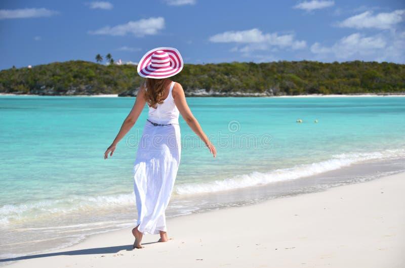 Exuma, Bahamas. Girl on the desrt beach. Exuma, Bahamas stock photos