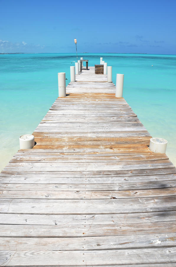Exuma, Bahamas. Little wooden jetty. Exuma, Bahamas stock photo