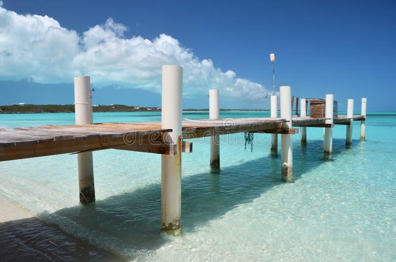 Exuma, Bahamas. A wooden jetty. Exuma, Bahamas stock image