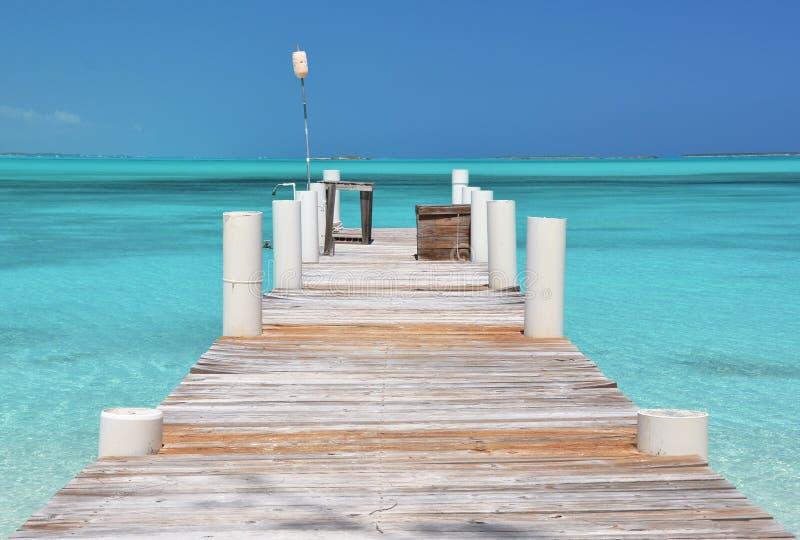Exuma, Bahamas. Wooden pier. Great Exuma, Bahamas royalty free stock image
