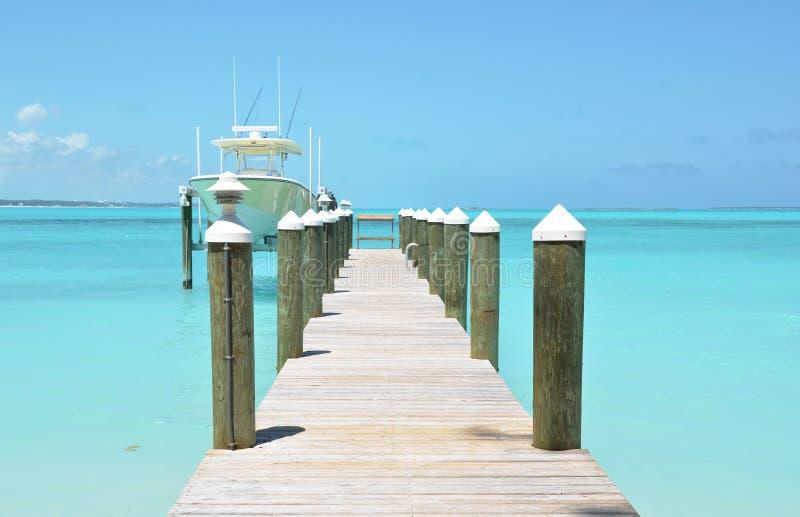 Exuma, Bahamas. Wooden pier. Exuma island, Bahamas royalty free stock photo