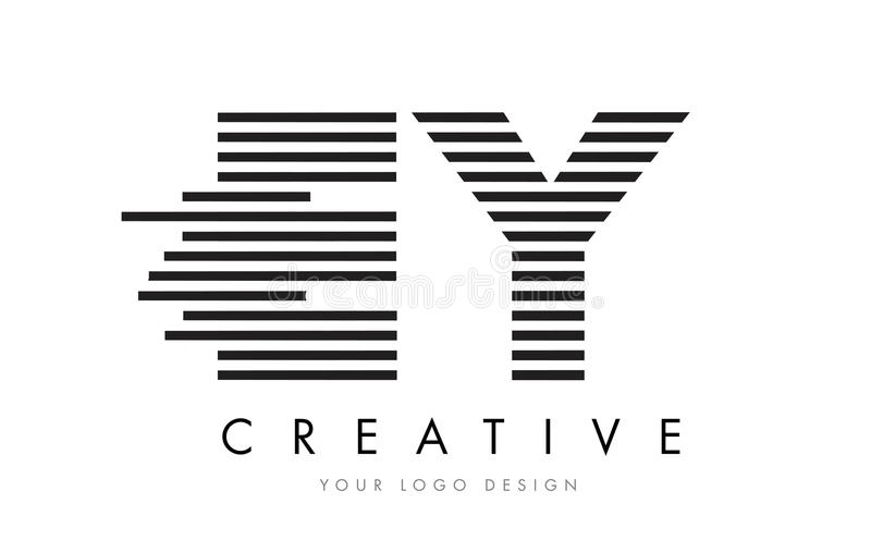 EY E Y Zebra Letter Logo Design with Black and White Stripes vector illustration