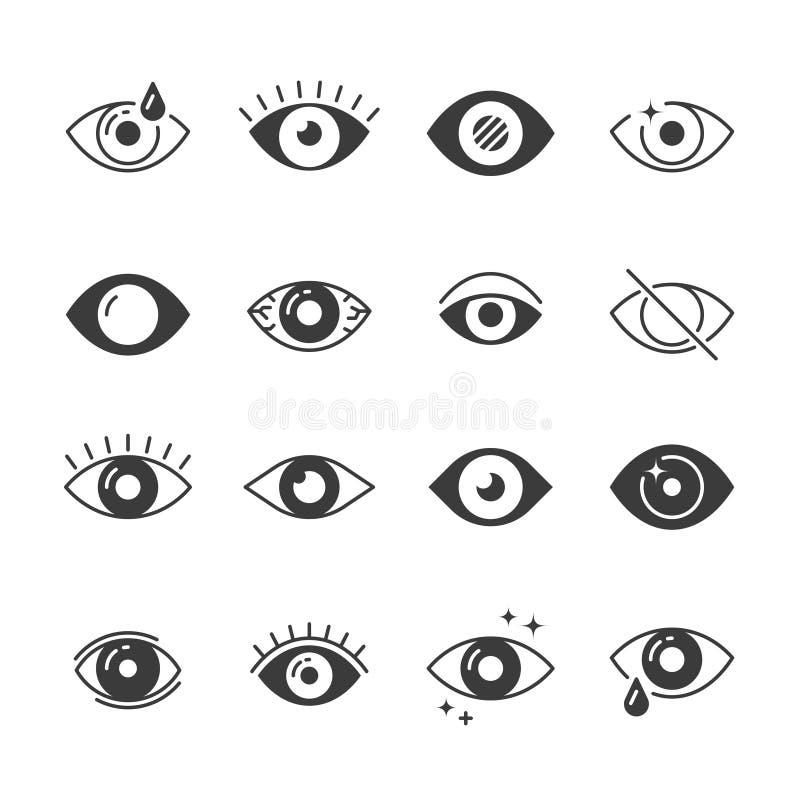 Eye ícones Olhos humanos, visão e sinais da vista Visível, durma e observe símbolos do vetor ilustração do vetor