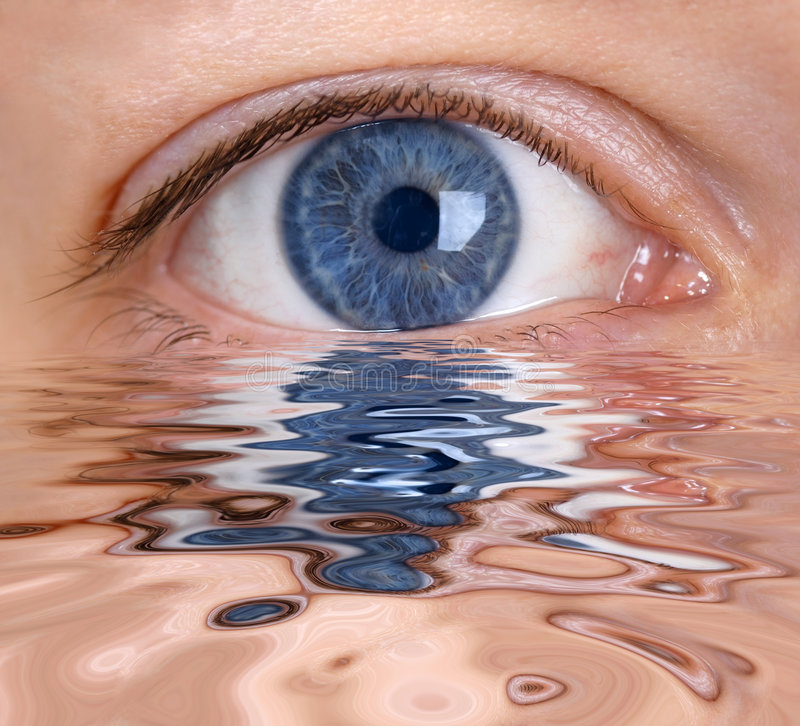The eye. Blue eye is reflected in the water