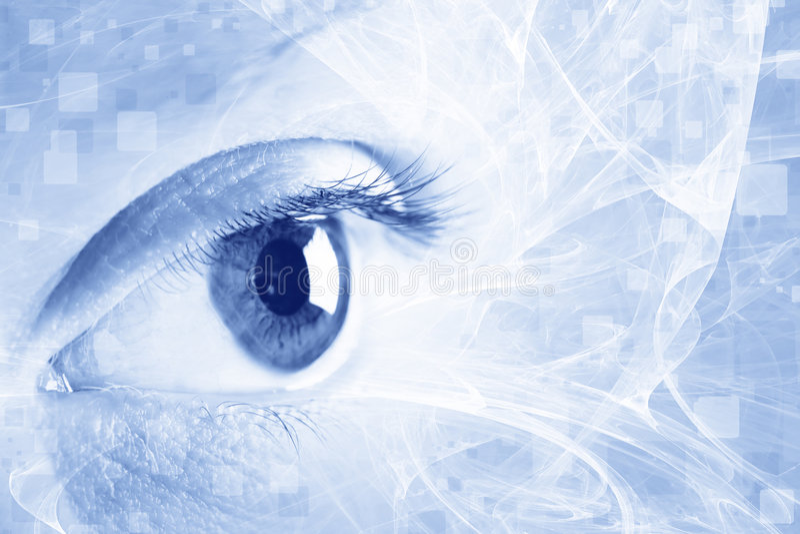 Eye. The close up of eye. Blue background