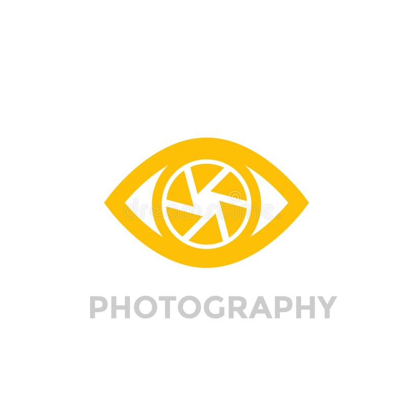 Eye with aperture symbol, photography vector logo. Eps 10 file, easy to edit stock illustration