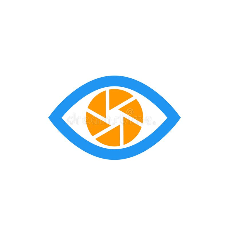 Eye with aperture symbol, vector icon on white. Eps 10 file, easy to edit stock illustration