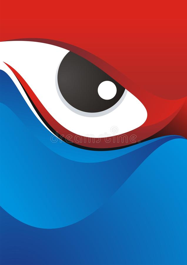 Eye Background with Red - Blue Color Design stock photo