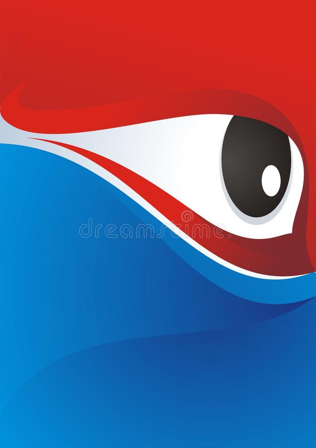 Eye Background with Red - Blue Color Design stock images