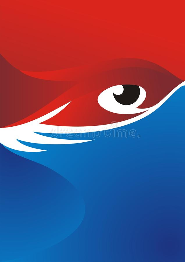 Eye Background with Red - Blue Color Design stock photos