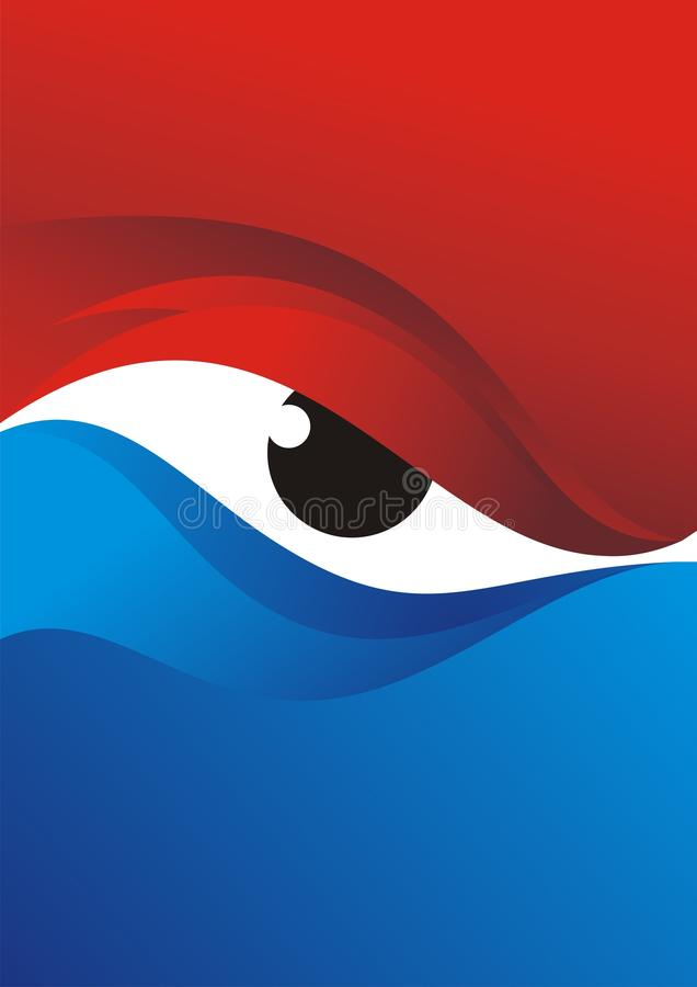 Eye Background with Red - Blue Color Design royalty free stock photo