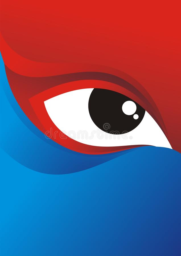 Eye Background with Red - Blue Color Design royalty free stock photography