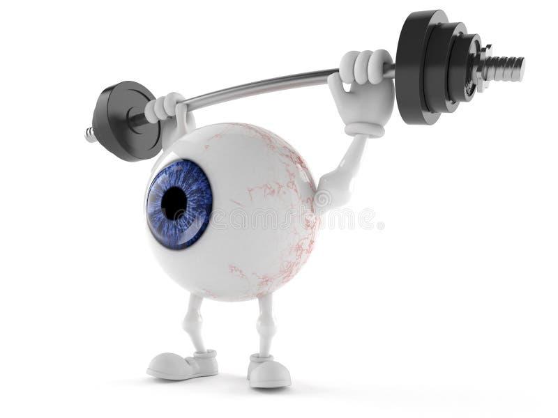 Eye ball character lifting heavy barbell stock illustration