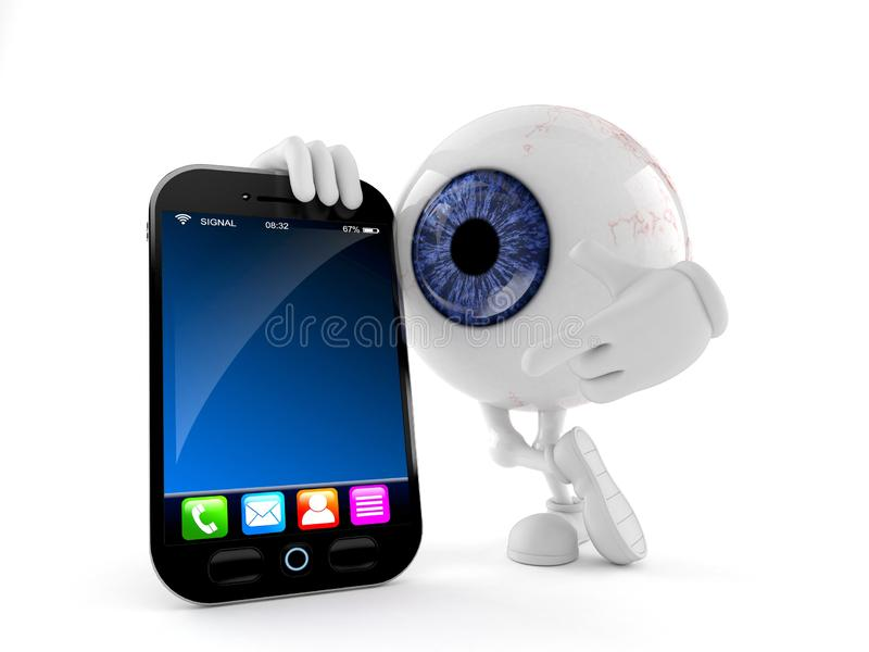 Eye ball character with smartphone vector illustration