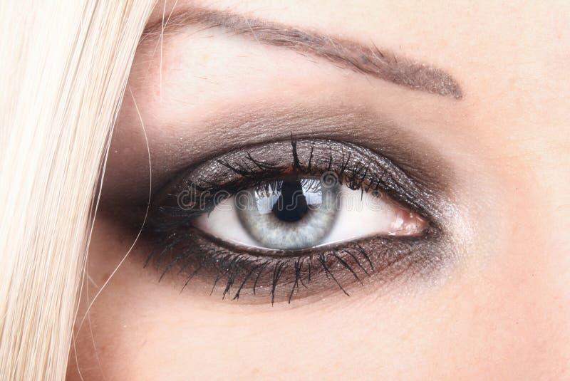 Eye of the beautiful blonde royalty free stock image