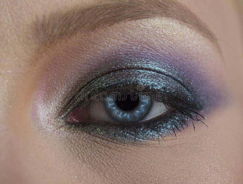 Eye, beautiful blue. Macro image of human eye. Insightful look blue eyes girl. Female face macro, close up blue. Close royalty free stock photos