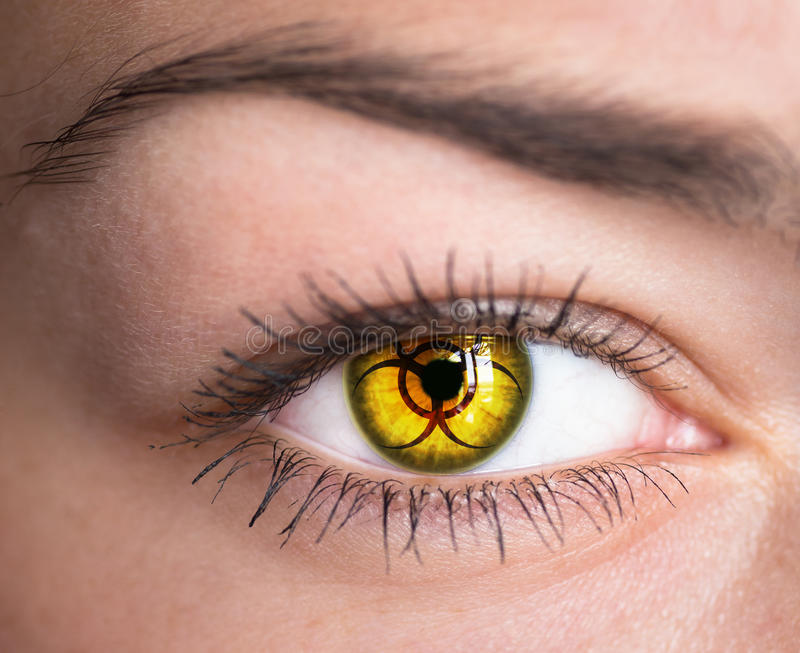 Eye with biohazard symbol. royalty free stock photography